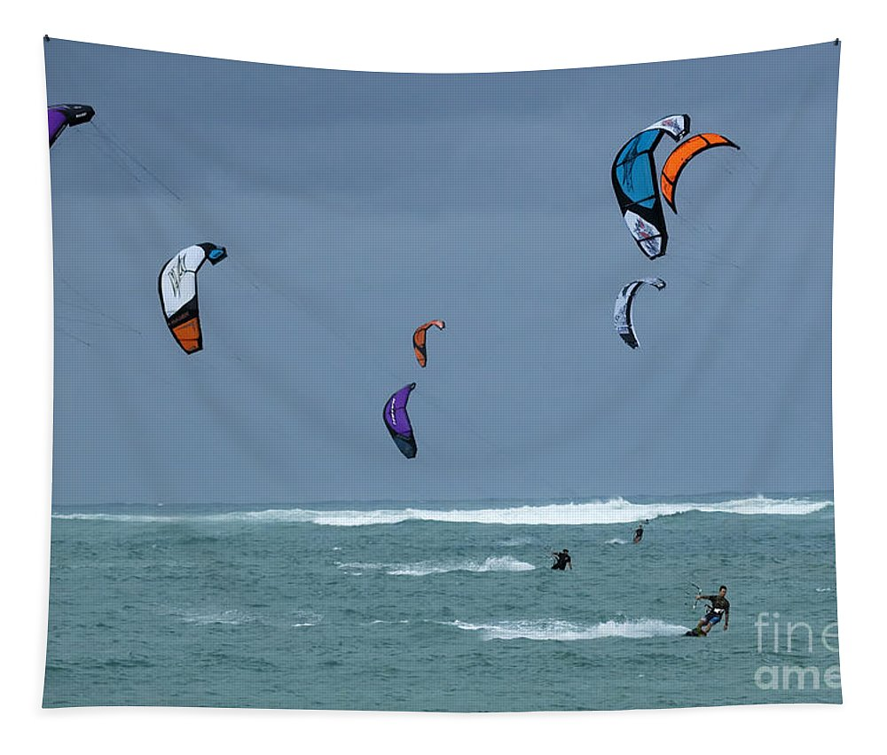 Surfing Tapestry featuring the photograph Windsurfing Hawaii by Bob Christopher