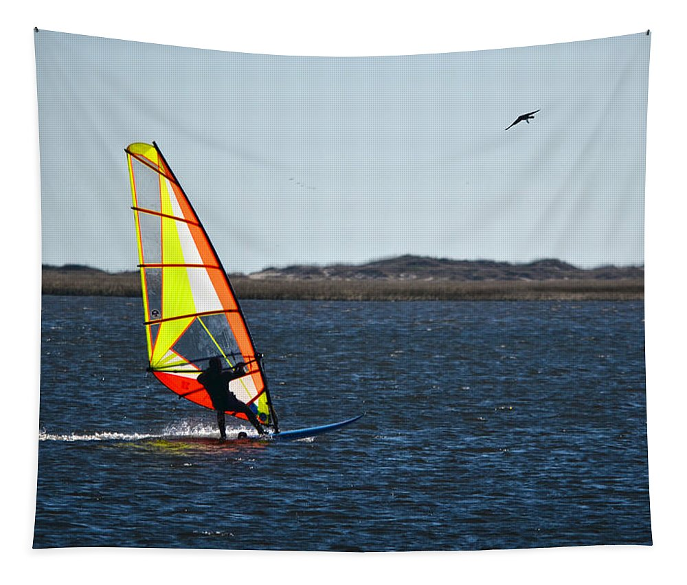 Windsurfing Tapestry featuring the photograph Windsurfing by Sandi OReilly