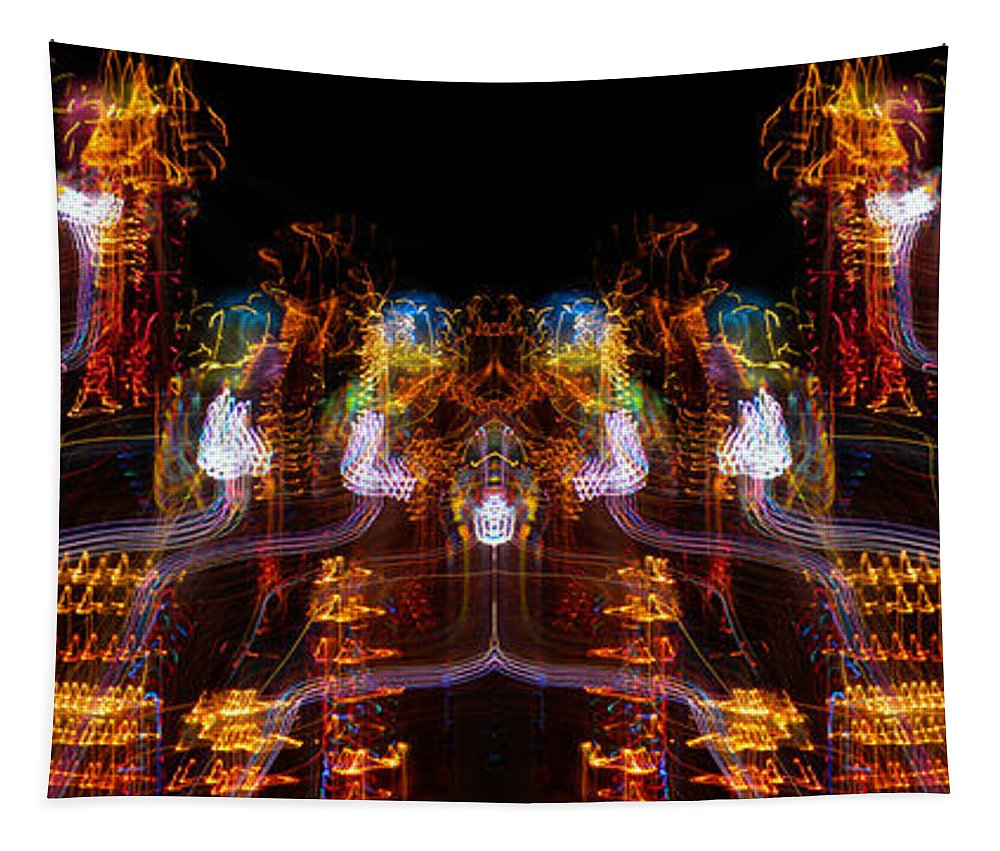 Neon Lights Tapestry featuring the photograph Windy Night Mirror Image by Thomas Woolworth