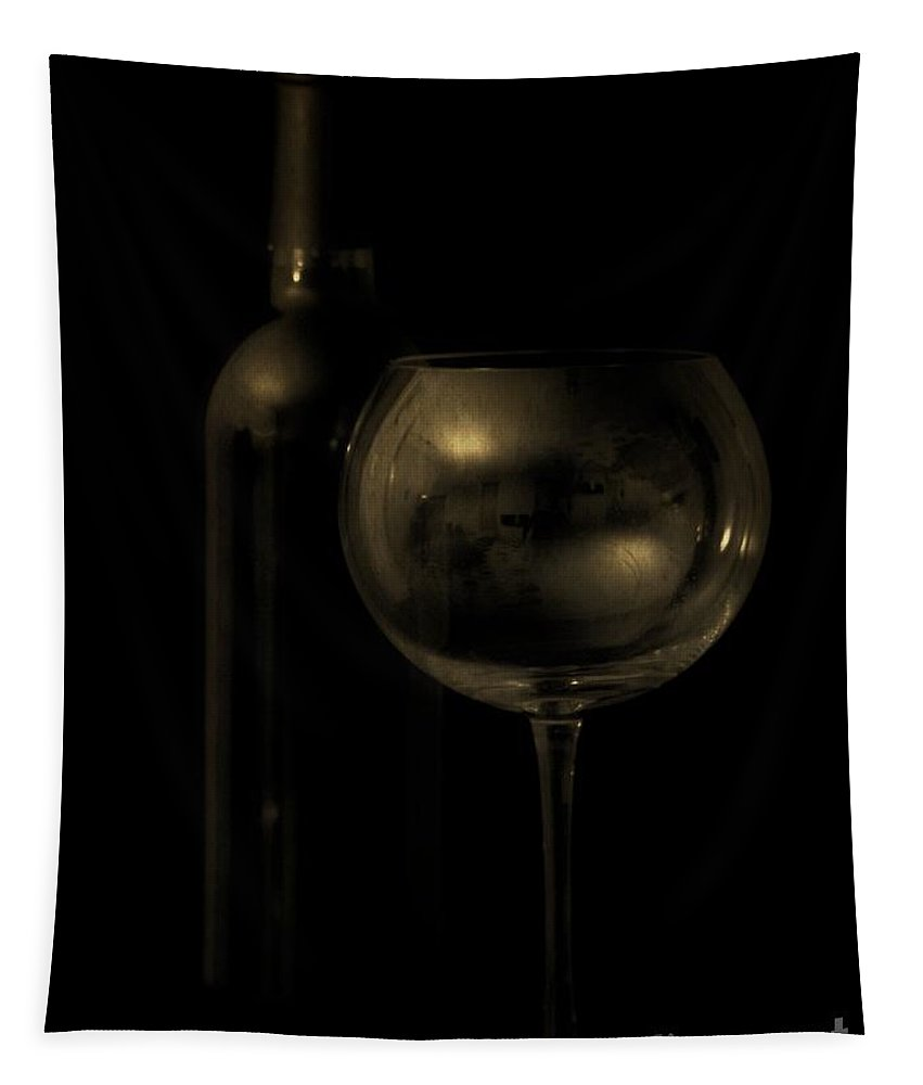 Wine Tapestry featuring the photograph Wine Bottle Still Life Deep Red by Edward Fielding