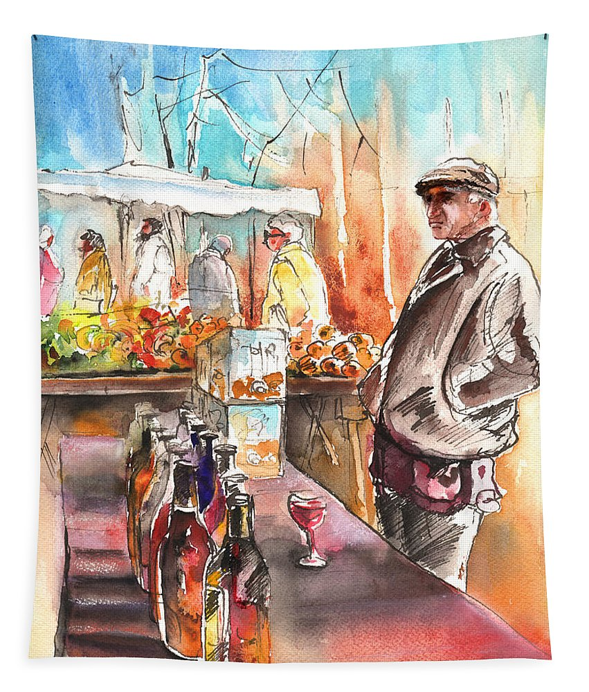 Travel Tapestry featuring the painting Wine Vendor In A Provence Market by Miki De Goodaboom