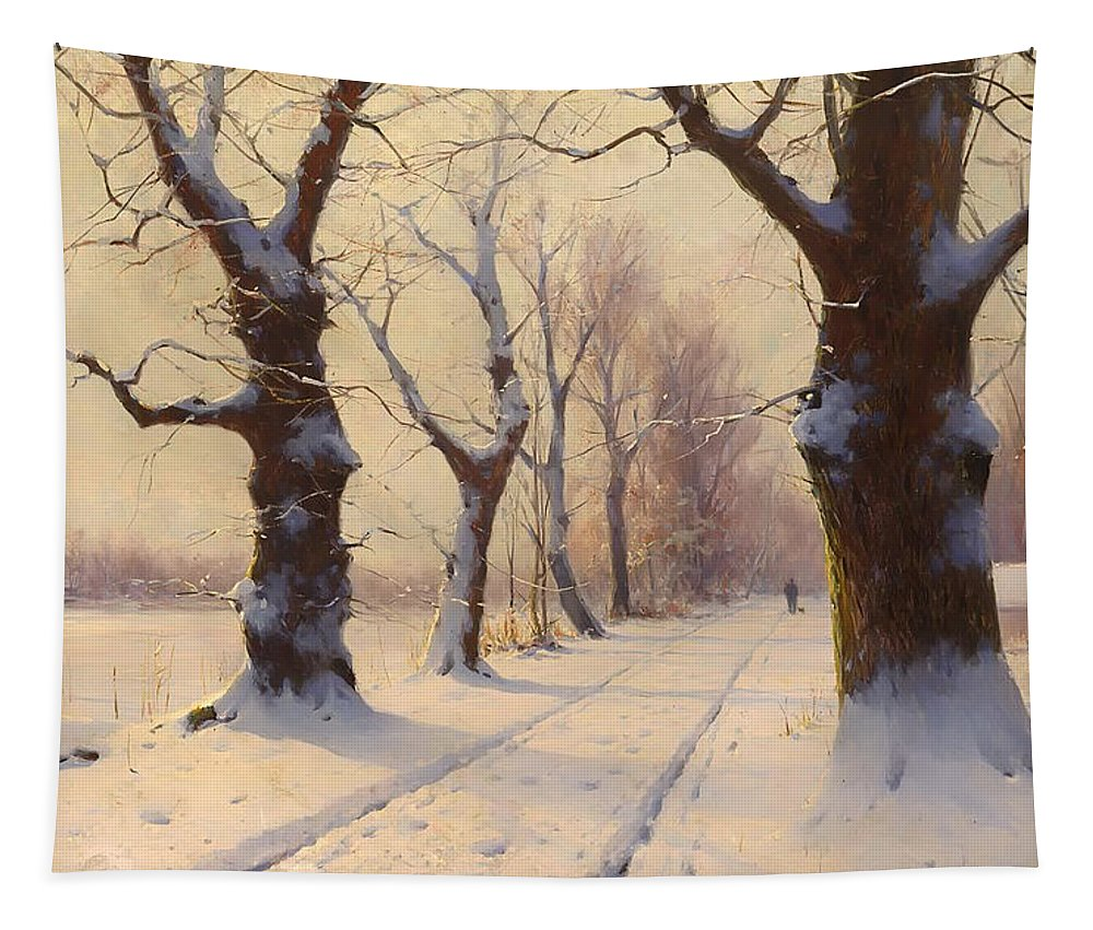 Landscape Tapestry featuring the painting Winter Alley by Mountain Dreams
