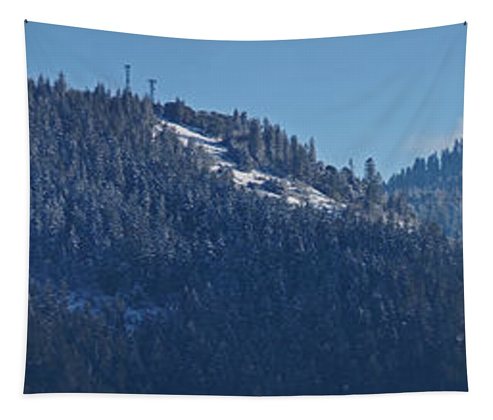 Panorama Tapestry featuring the photograph Winter And Mt Baldy Panorama by Mick Anderson