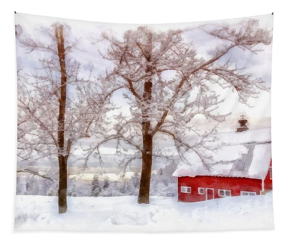 Barn Tapestry featuring the photograph Winter Arrives Watercolor by Edward Fielding