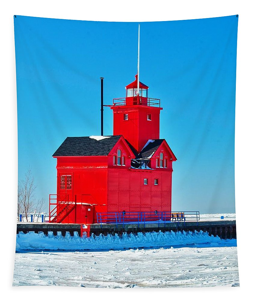 Holland Tapestry featuring the photograph Winter At Big Red by Nick Zelinsky