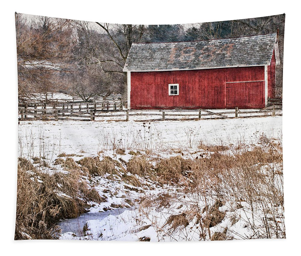 Barn Tapestry featuring the photograph Winter Barn by Dale Kincaid