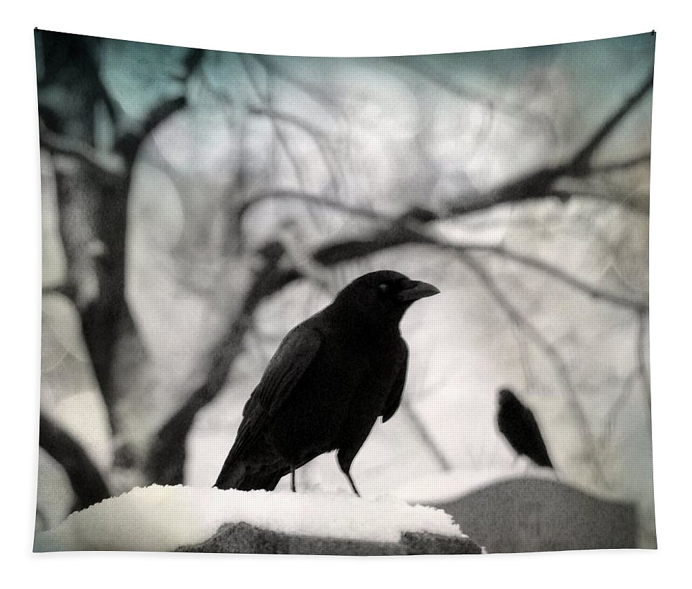 Gothic Blackbirds Tapestry featuring the photograph Winter Blackbirds by Gothicrow Images