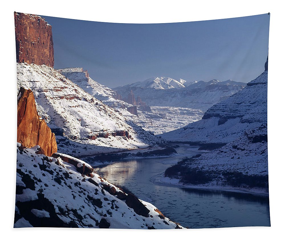 Desert River Tapestry featuring the photograph 612702-winter Desert River, Ut by Ed Cooper Photography