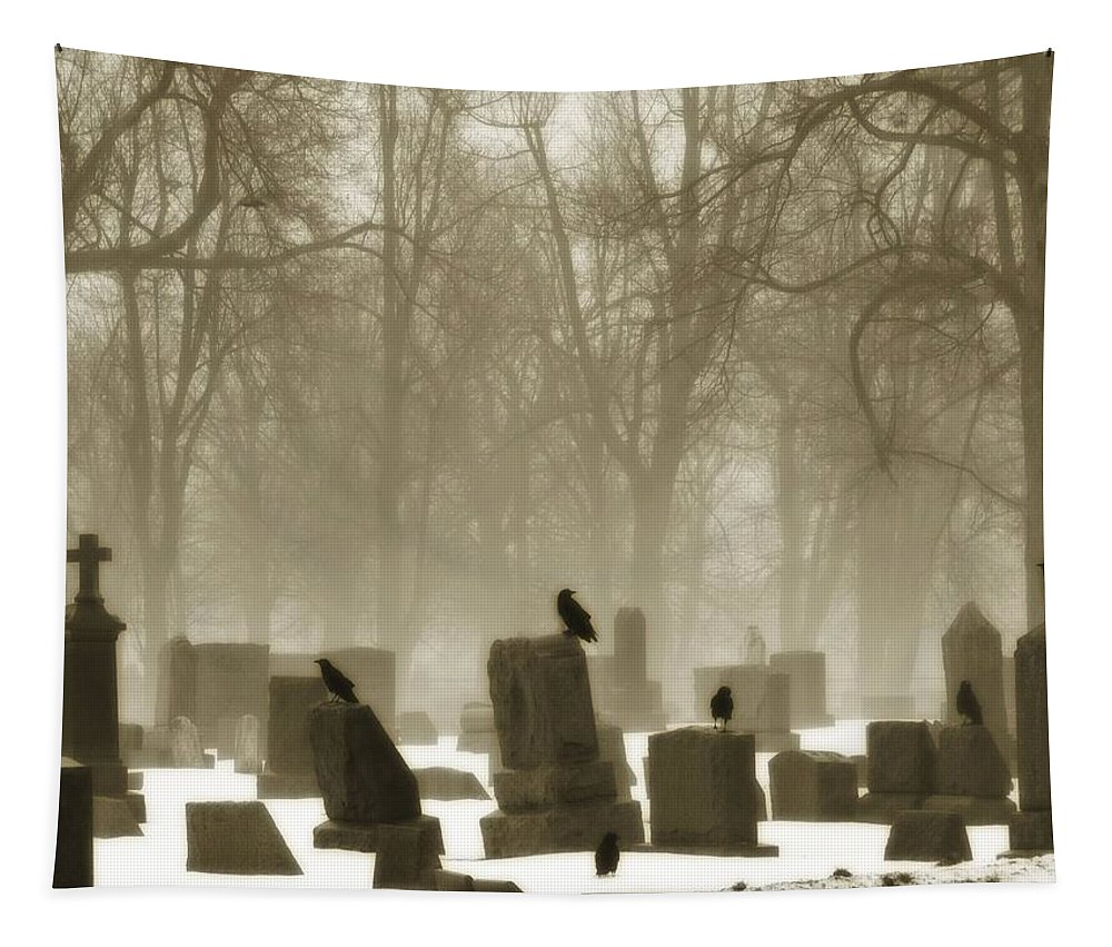 Winter Graveyard Tapestry featuring the photograph Winter Graveyard Crows by Gothicrow Images