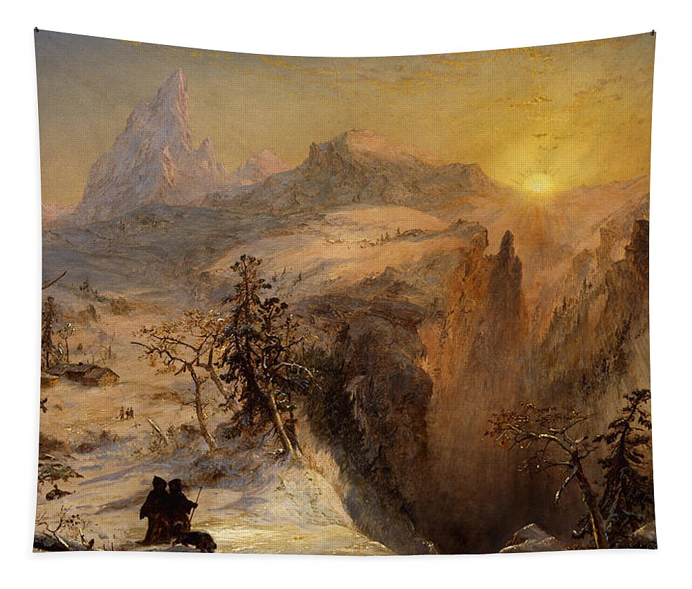 1860s Tapestry featuring the painting Winter In Switzerland by Jasper Francis Cropsey