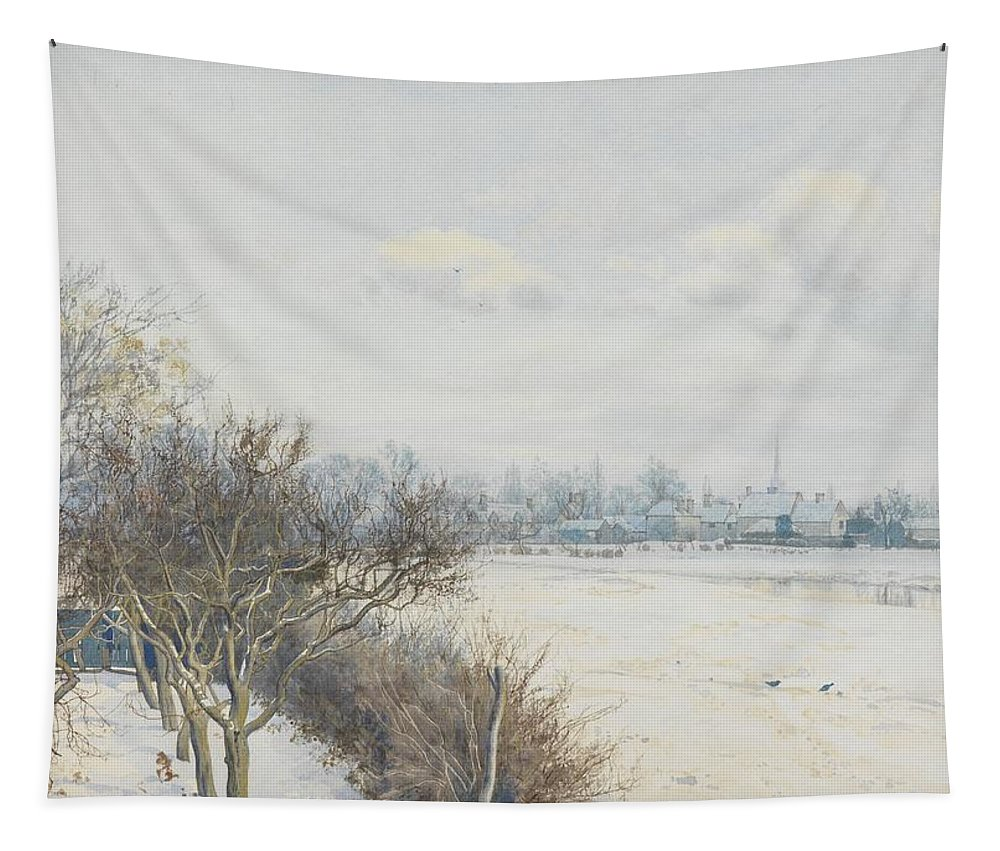 Trees Tapestry featuring the painting Winter In The Ouse Valley by William Fraser Garden