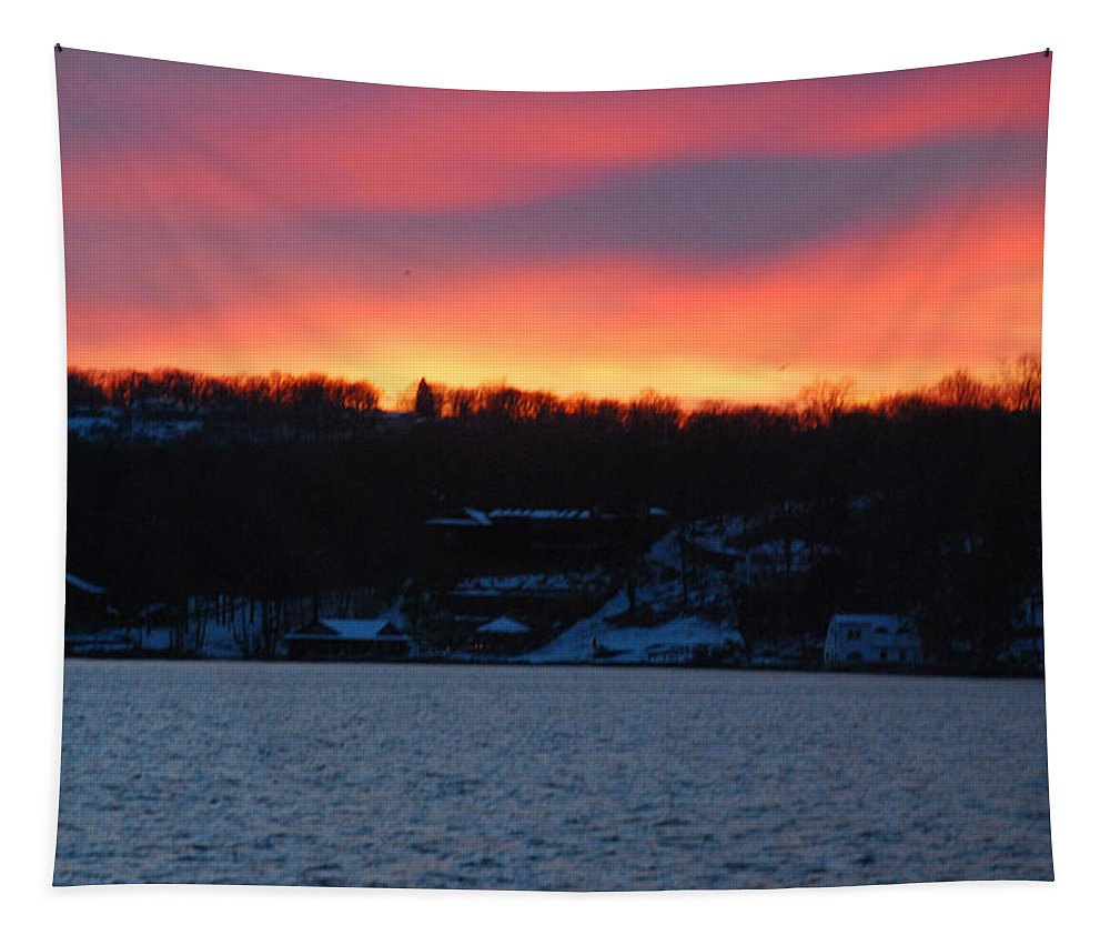 Lake Tapestry featuring the photograph Winter Lake Sunset by Richard Bryce and Family