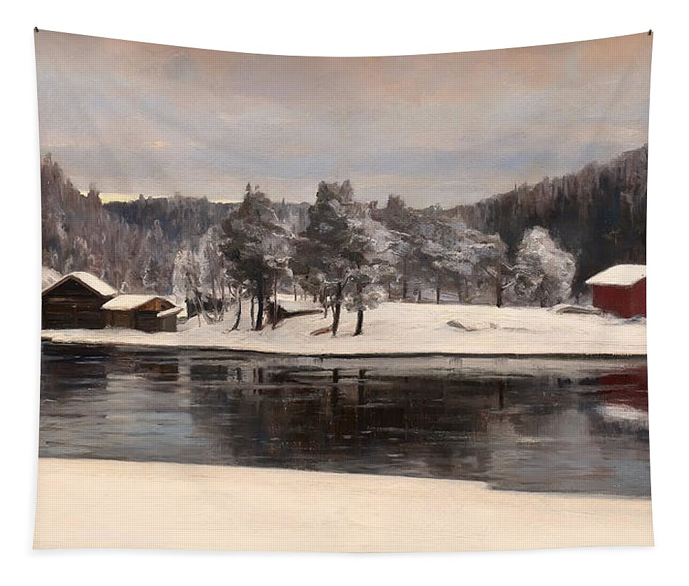 Landscape Tapestry featuring the painting Winter Landscape 1899 by Mountain Dreams