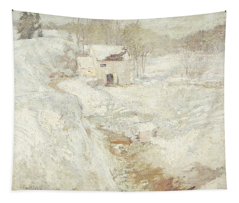 1890s Tapestry featuring the painting Winter Landscape by John Henry Twachtman