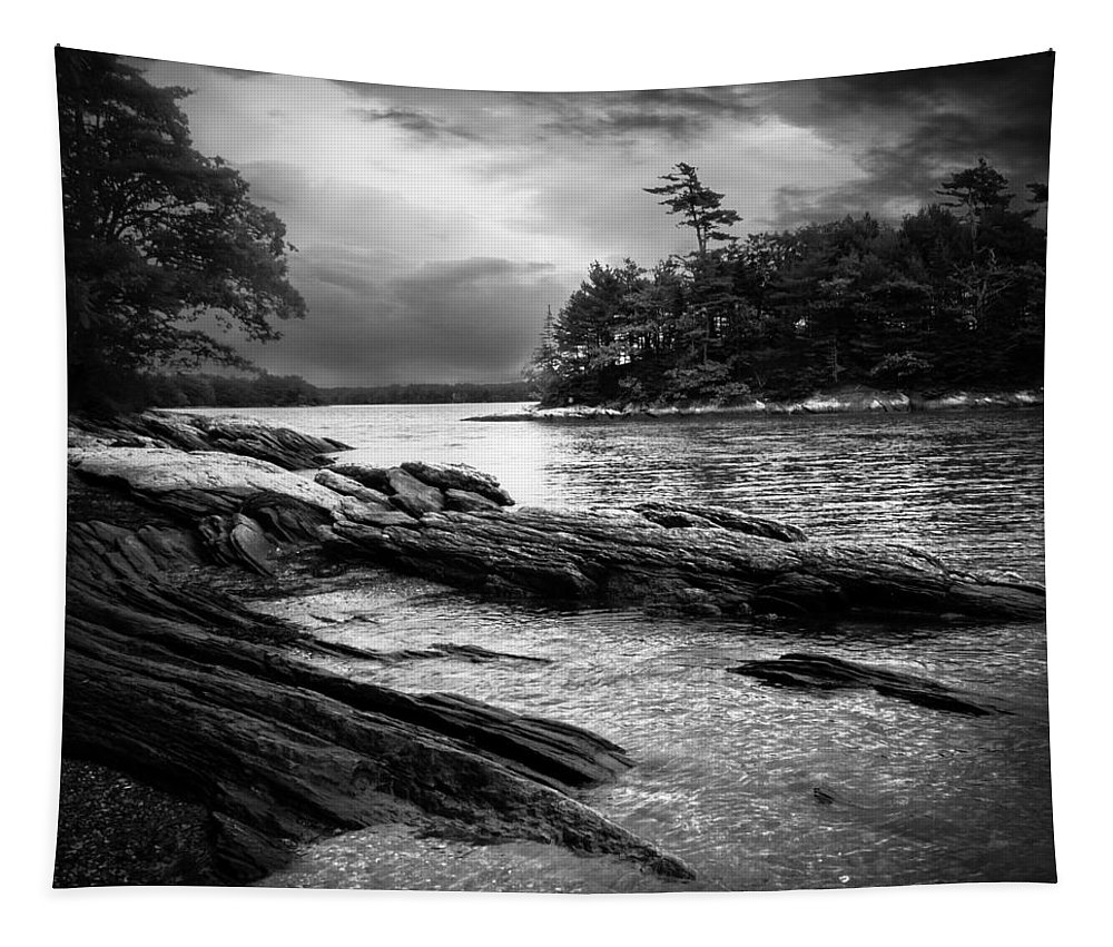 Shore Tapestry featuring the photograph Winter Moonlight Wolfes Neck Woods Maine by Bob Orsillo