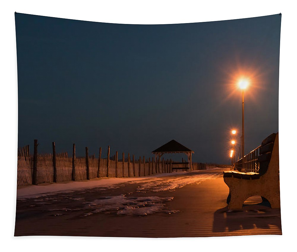 Terry Deluco Tapestry featuring the photograph Winter Night Boardwalk Bench Seaside Nj by Terry DeLuco