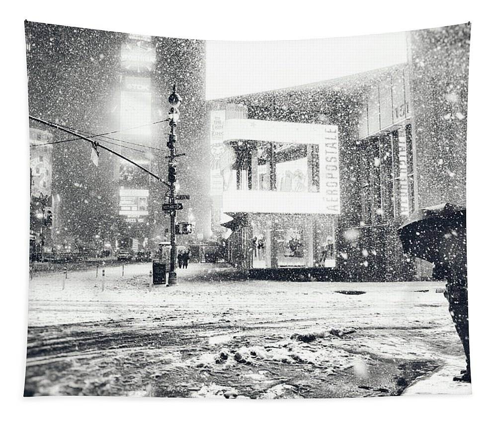 New York City Tapestry featuring the photograph Winter Night - Times Square - New York City by Vivienne Gucwa