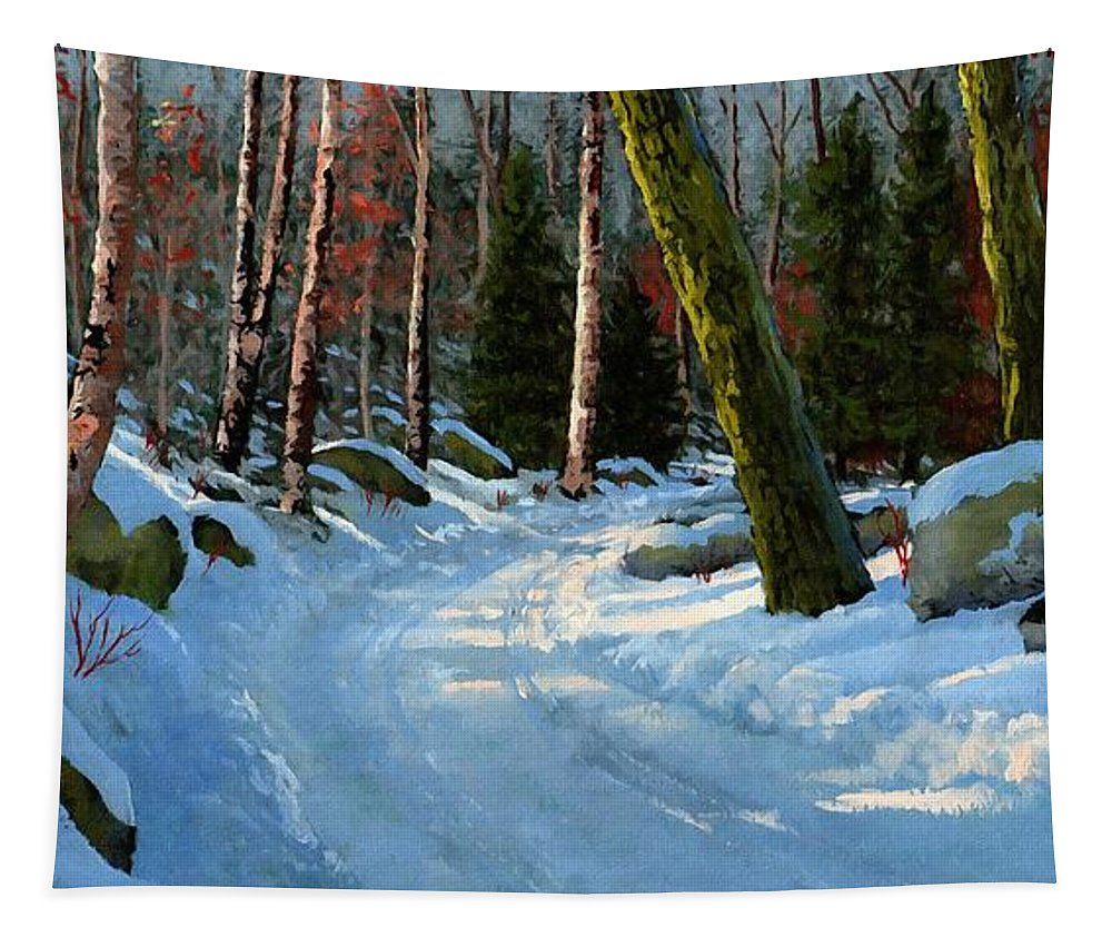 Winter Road Tapestry featuring the painting Winter Road by Frank Wilson
