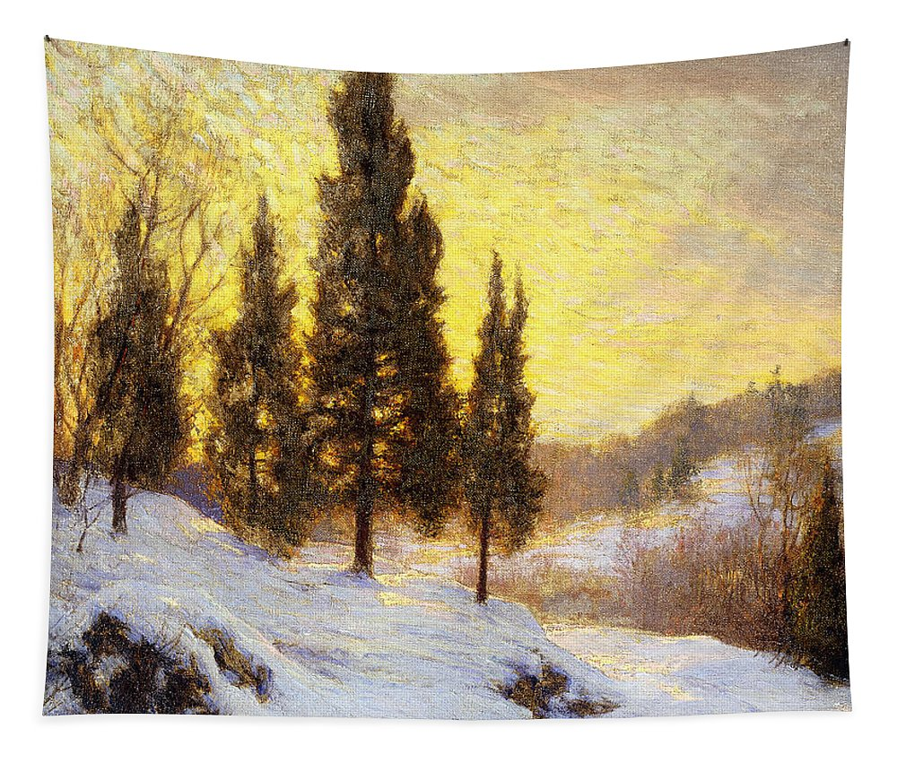 American Tapestry featuring the painting Winter Sundown by Walter Launt Palmer