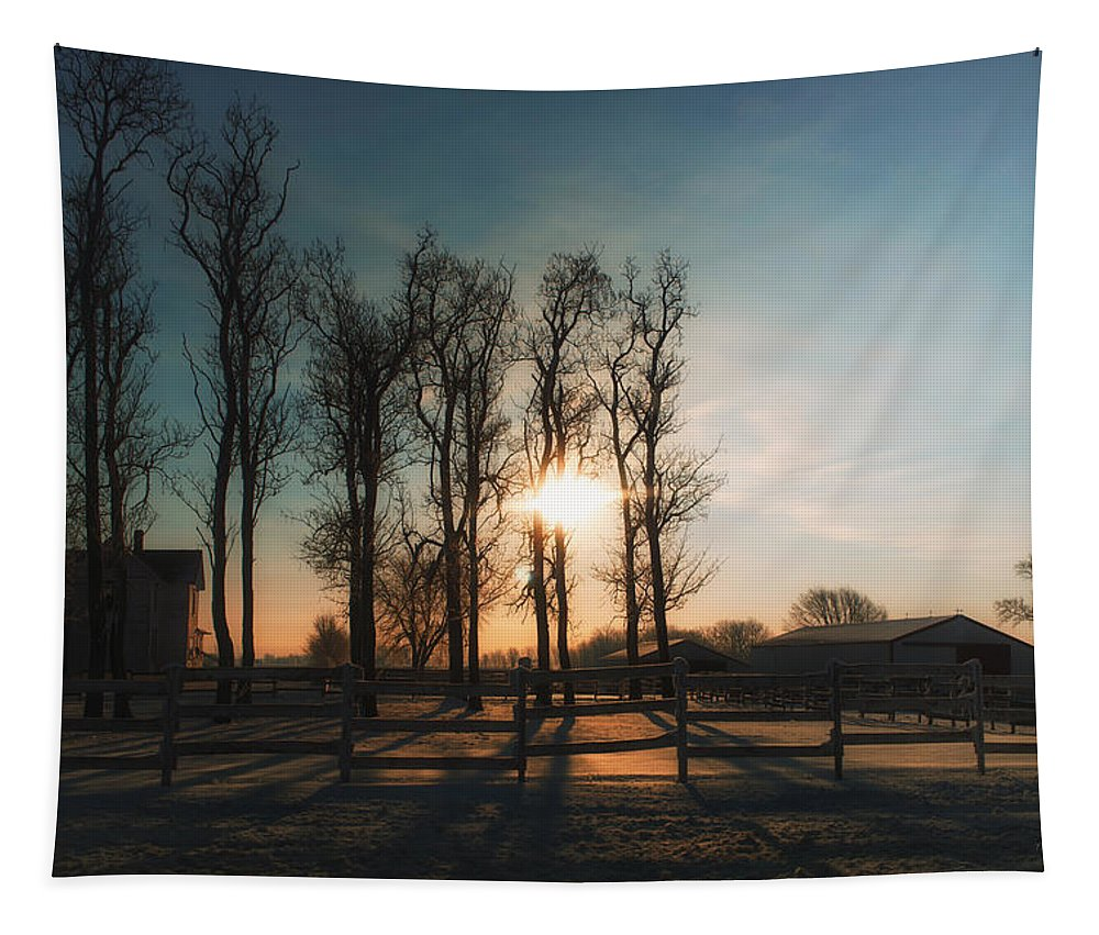 Sunrise Tapestry featuring the photograph Winter Sunrise On The Farm 01 by Thomas Woolworth