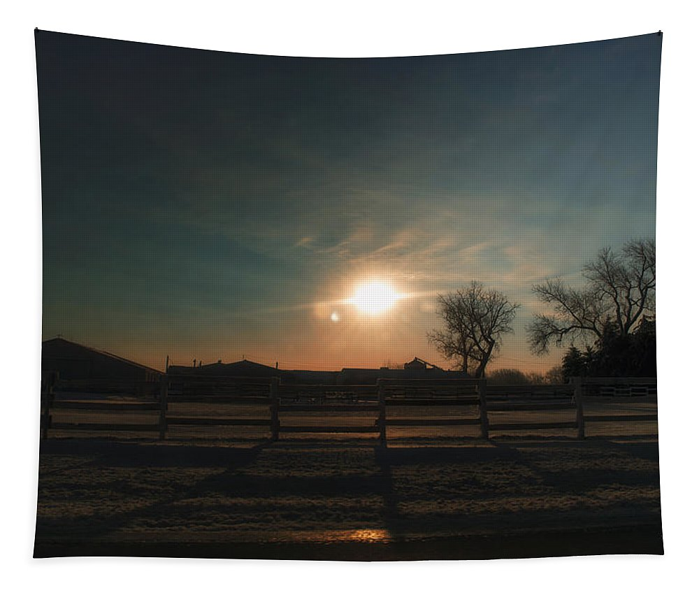 Sunrise Tapestry featuring the photograph Winter Sunrise On The Farm 02 by Thomas Woolworth