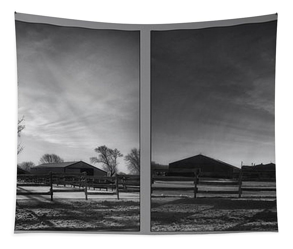 Sunrise Tapestry featuring the photograph Winter Sunrise On The Farm 2 Panel Bw by Thomas Woolworth