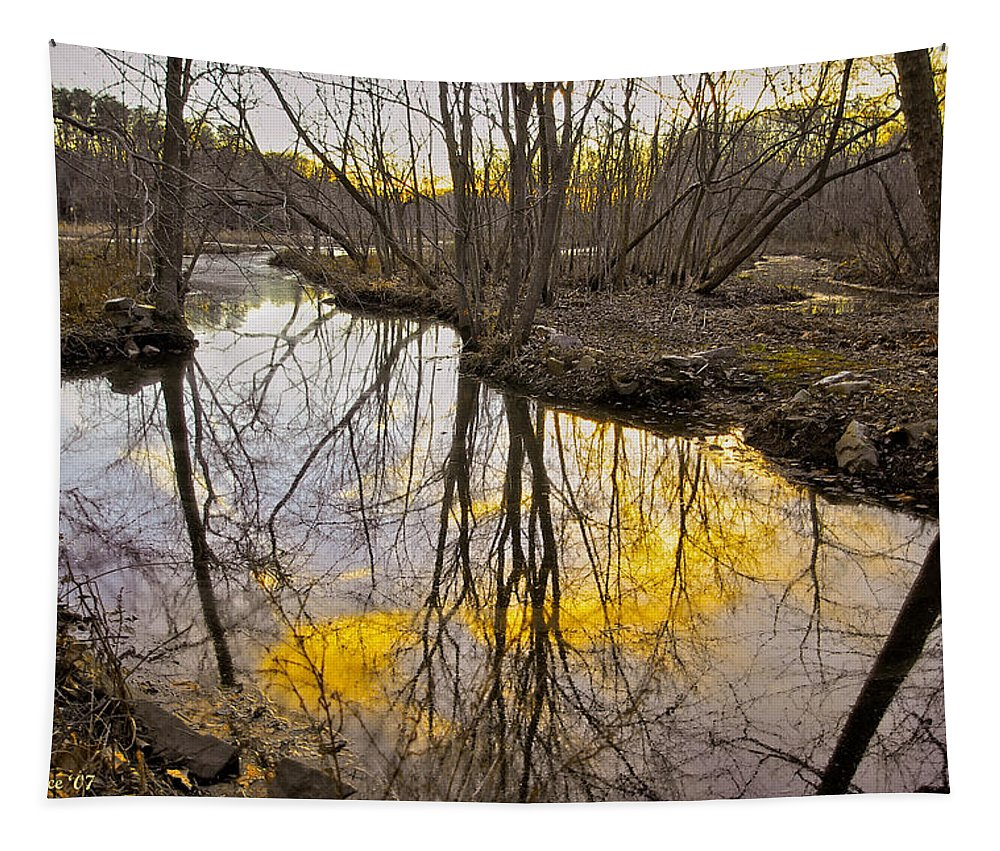 2d Tapestry featuring the photograph Winter Sunset At Williston Mill by Brian Wallace