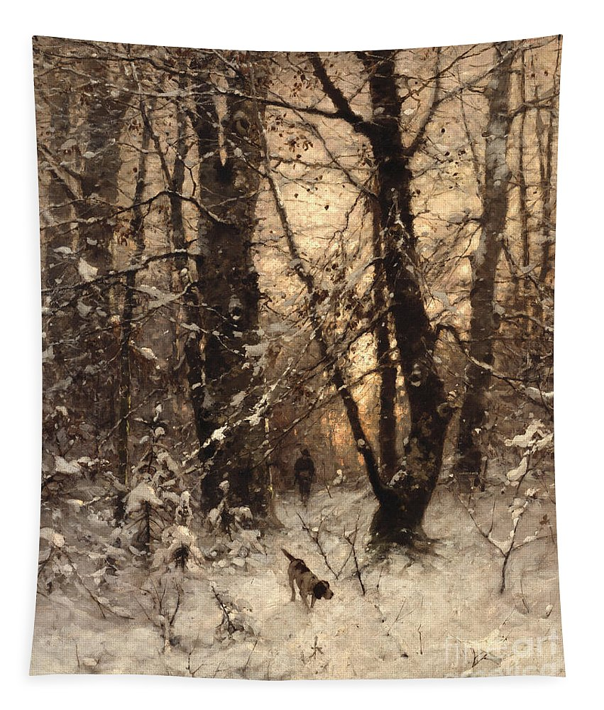 Winter Tapestry featuring the painting Winter Twilight by Ludwig Munthe