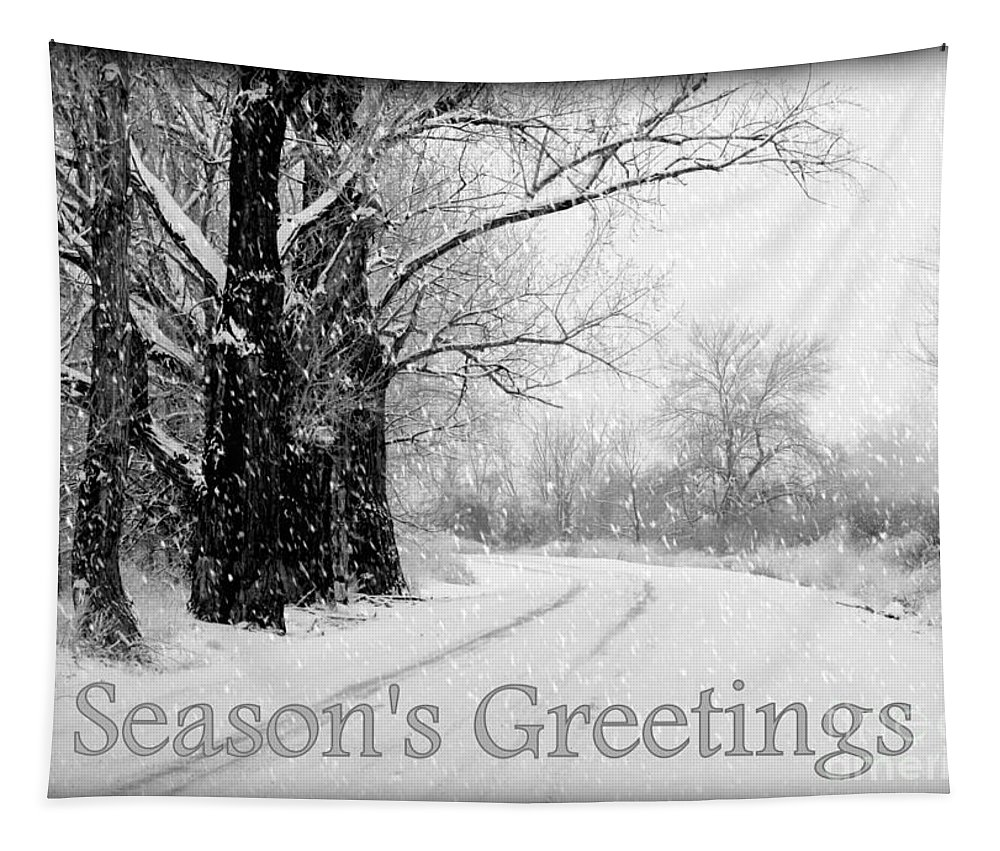 Seasonal Tapestry featuring the photograph Winter White Season's Greeting Card by Carol Groenen