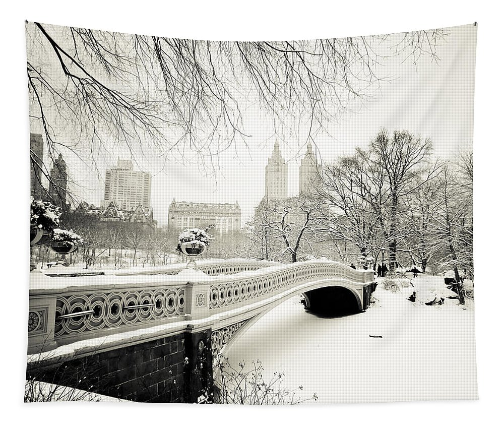 New York City Tapestry featuring the photograph Winter's Touch - Bow Bridge - Central Park - New York City by Vivienne Gucwa