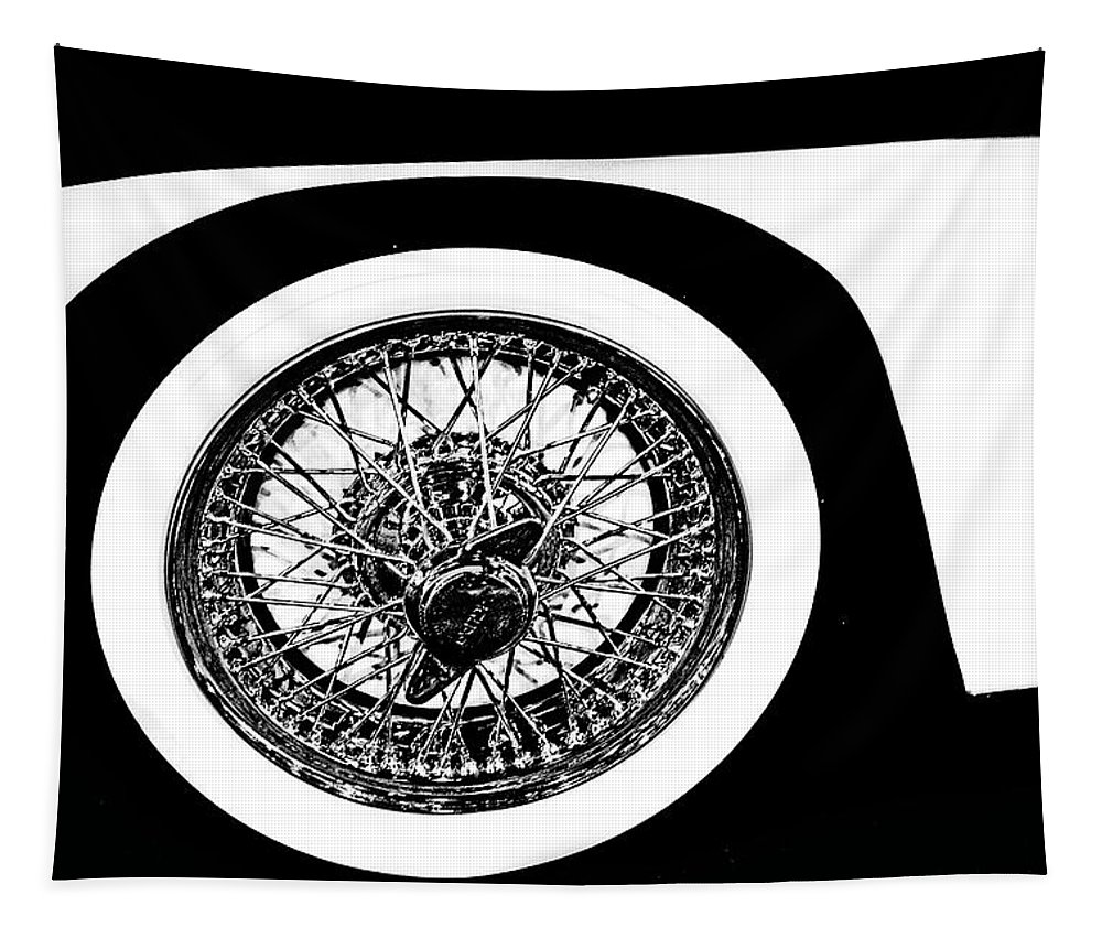 Jaguar Tapestry featuring the photograph Wire Wheel by Tom Gari Gallery-Three-Photography