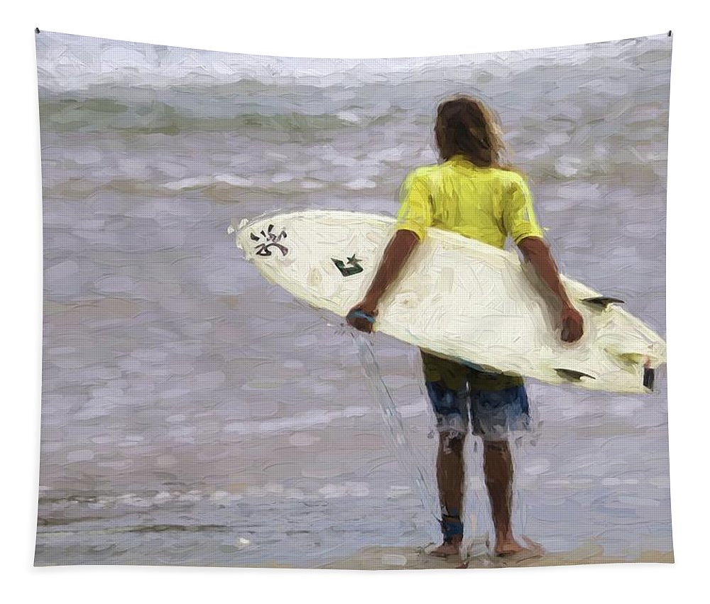 Surfer Tapestry featuring the photograph Wishin Waves by Alice Gipson