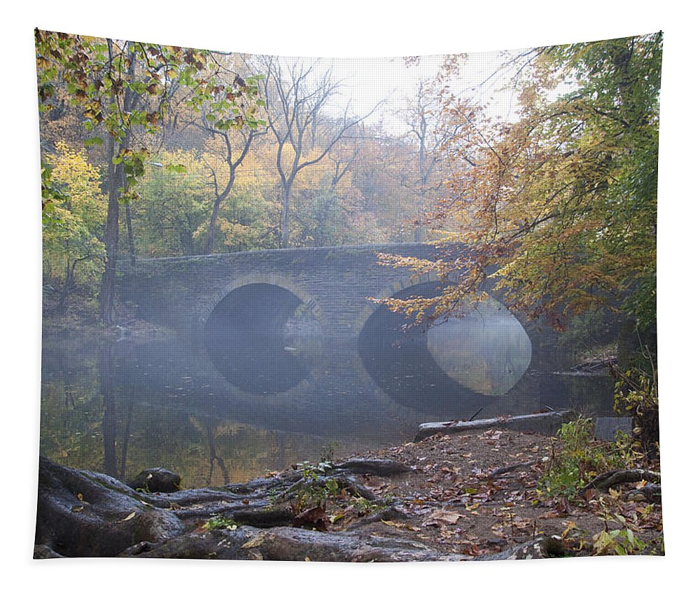 Wissahickon Tapestry featuring the photograph Wissahickon Creek And Bells Mill Road Bridge by Bill Cannon