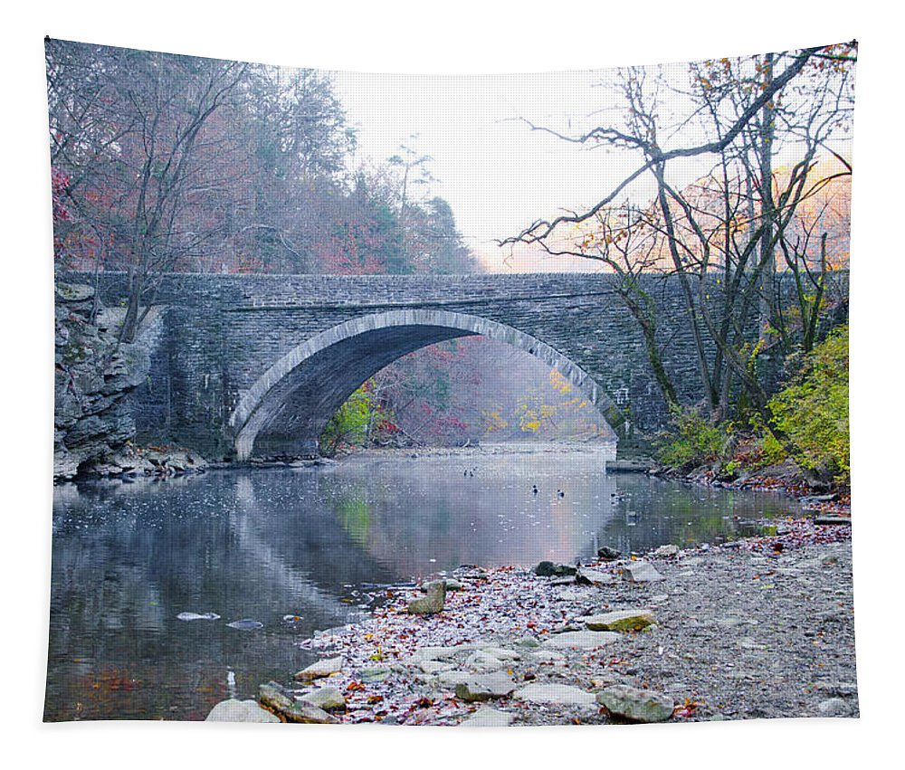 Wissahickon Tapestry featuring the photograph Wissahickon Creek And Valley Green Bridge by Bill Cannon