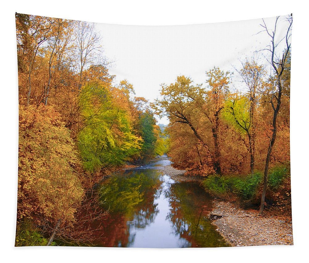 Wissahickon Tapestry featuring the photograph Wissahickon Creek Near Chestnut Hill College In Autumn by Bill Cannon