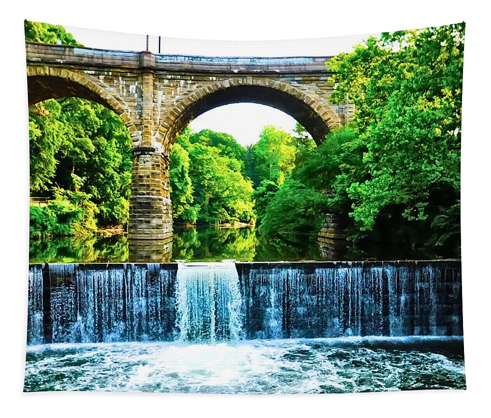 Philadelphia Tapestry featuring the photograph Wissahickon Falls by Bill Cannon