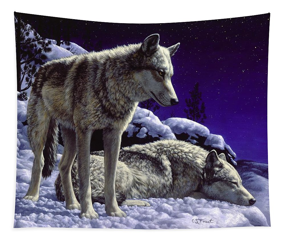 Wolf Tapestry featuring the painting Wolf Painting - Night Watch by Crista Forest