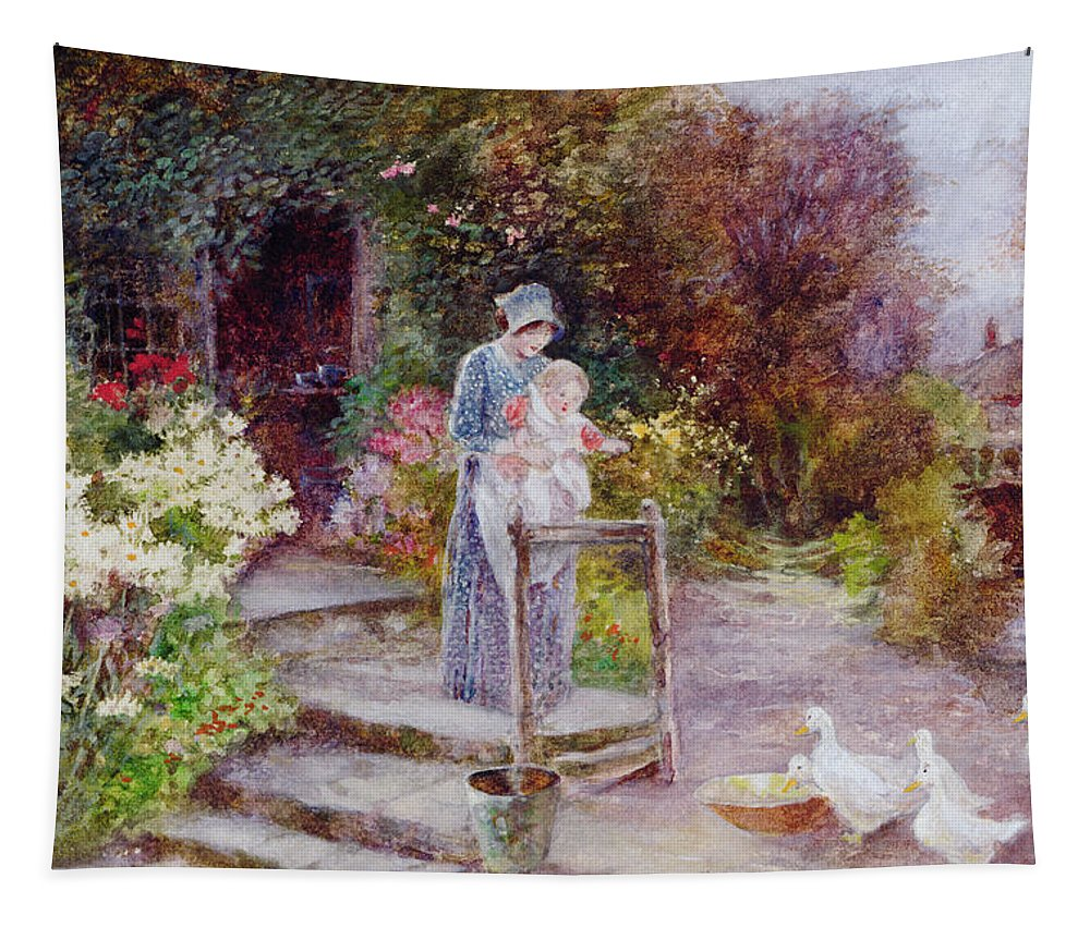 Garden Tapestry featuring the painting Woman And Child In A Cottage Garden by Florence Agnes Mackay