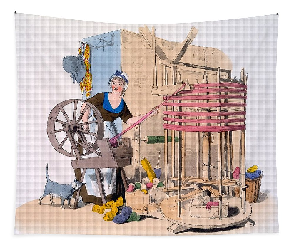 Woman Tapestry featuring the drawing Woman Spinning Wool Onto A Rotating by William Henry Pyne