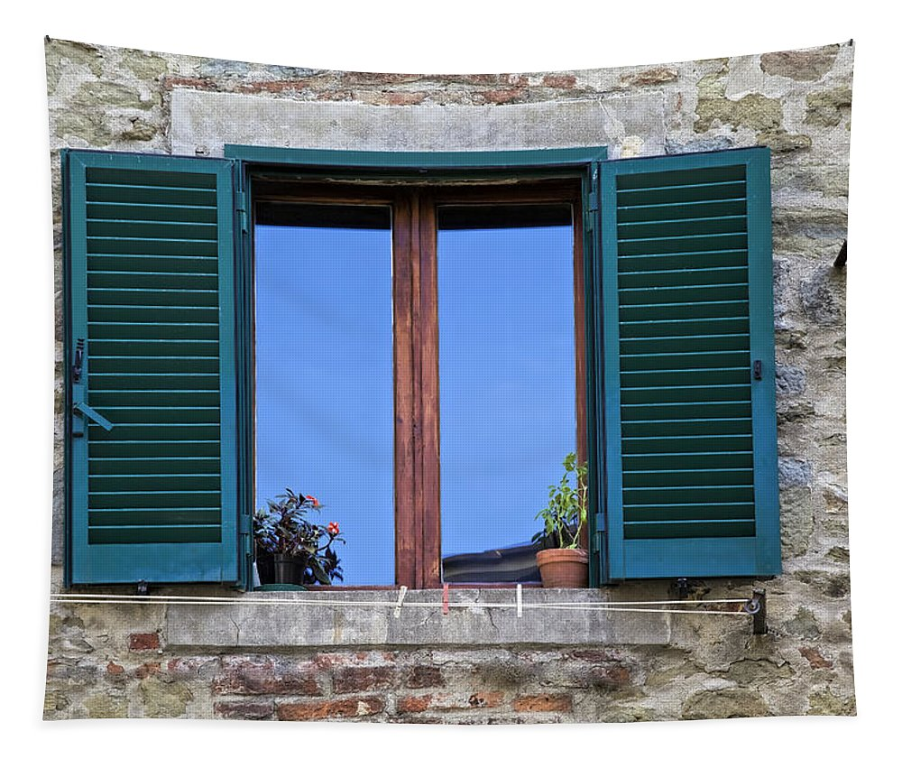 Brick Tapestry featuring the photograph Wood Brown Window With Green Shutters Of Tuscany by David Letts