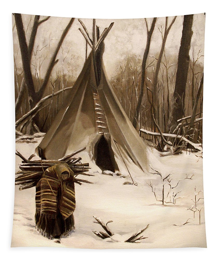Native American Tapestry featuring the painting Wood Gatherer by Nancy Griswold