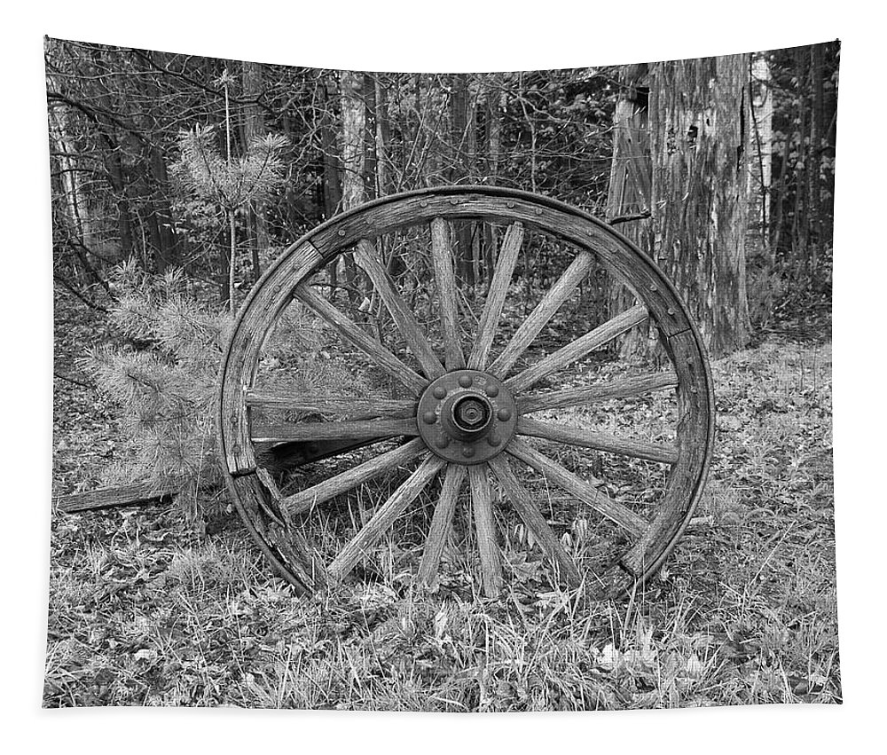 Old Tapestry featuring the photograph Wood Spoke Wheel by Sherman Perry