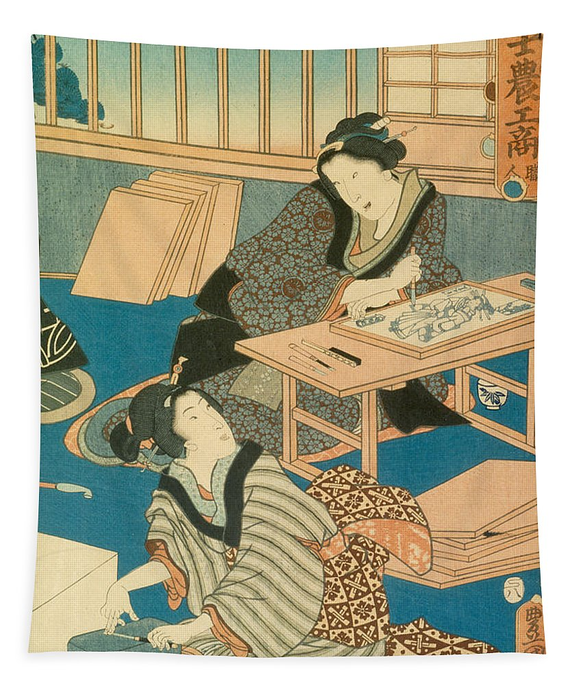 Japan Tapestry featuring the painting Woodblock Production by Japanese School