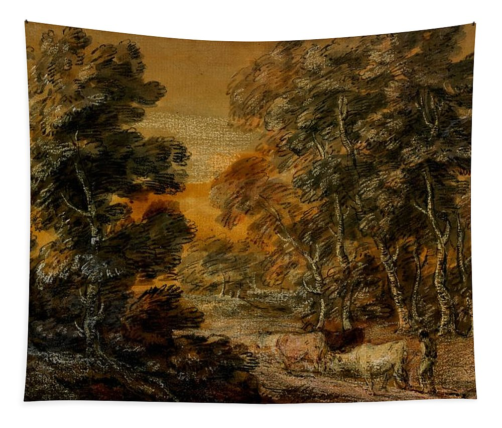 Wooded Landscape With Herdsman And Cattle Tapestry featuring the painting Wooded Landscape With Herdsman And Cattle by Thomas Gainsborough