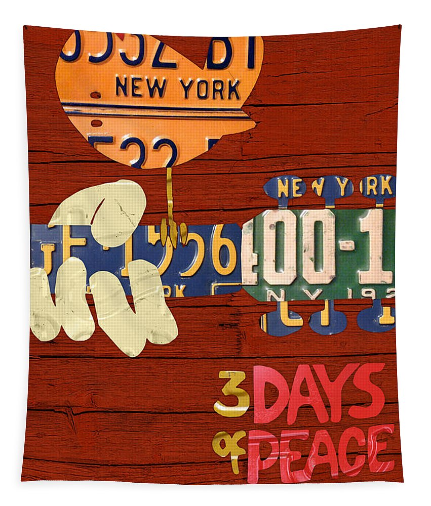 Woodstock Tapestry featuring the mixed media Woodstock Music Festival Poster License Plate Art by Design Turnpike