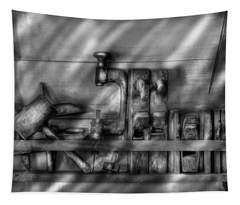 Savad Tapestry featuring the photograph Woodworker - Wood Working Tools by Mike Savad