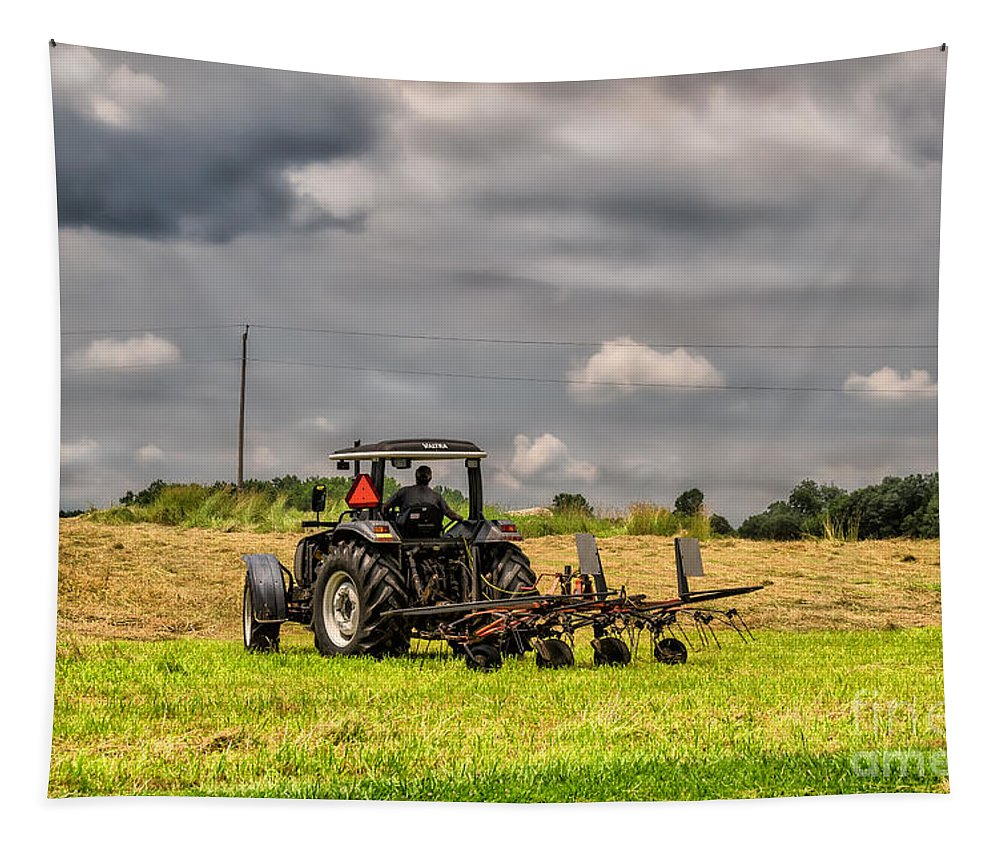 Farm Tapestry featuring the photograph Working The Land by Lois Bryan