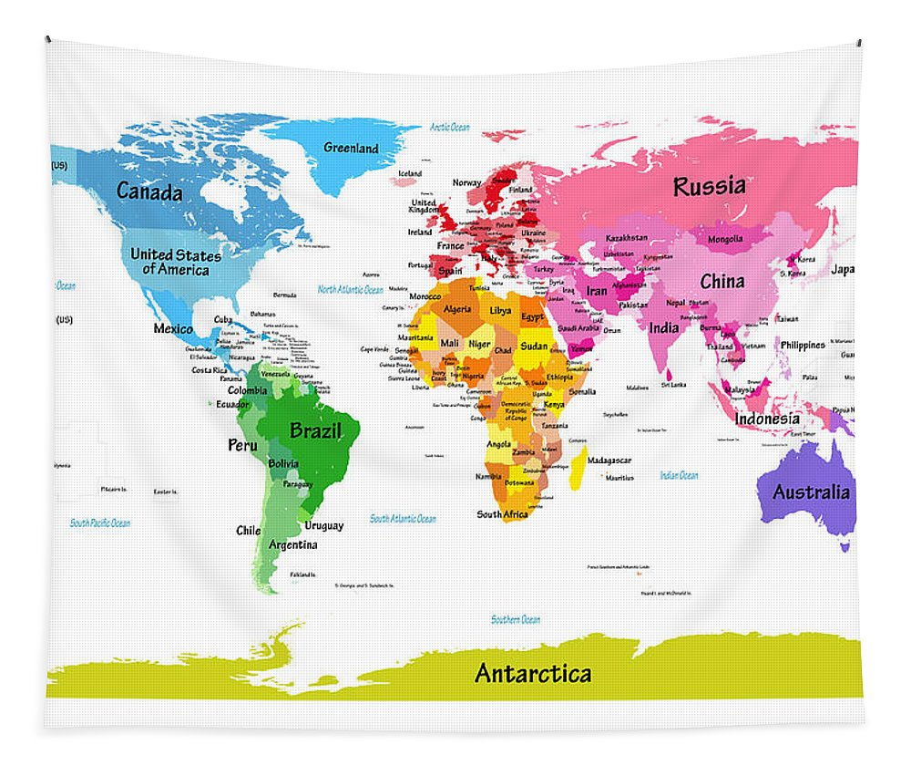 World Map Canvas Tapestry featuring the digital art World Map With Big Text by Michael Tompsett