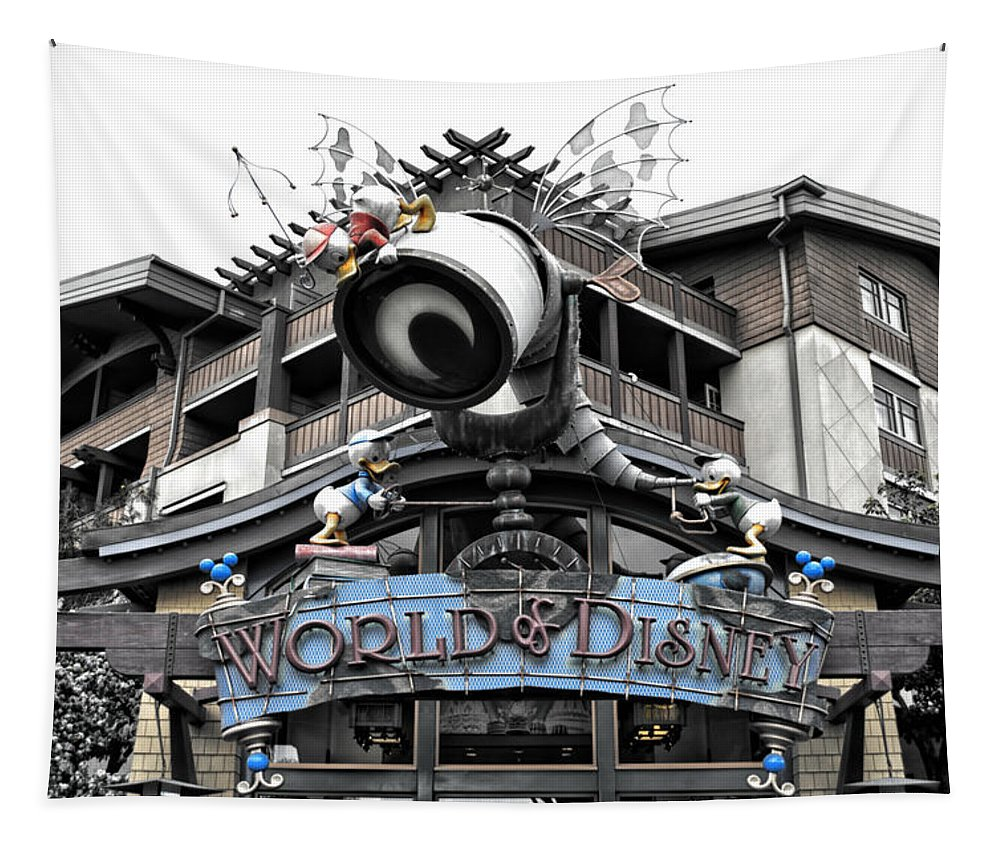 Disney Tapestry featuring the photograph World Of Disney Signage Downtown Disneyland Sc by Thomas Woolworth