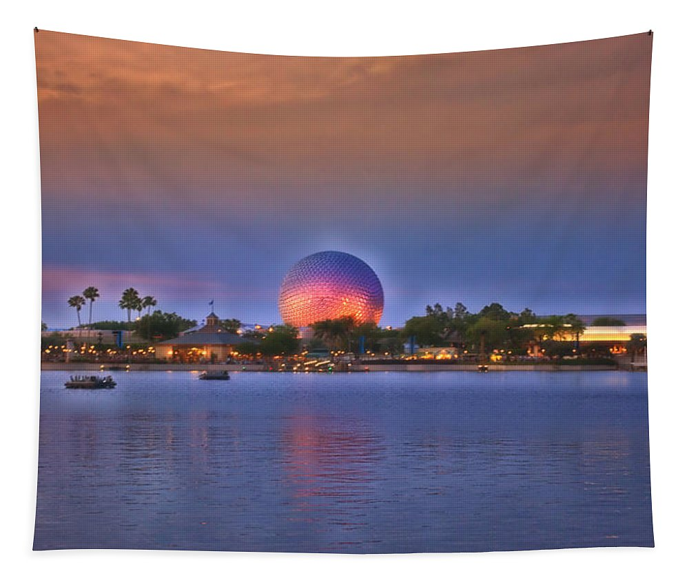 Sunset Tapestry featuring the photograph World Showcase Lagoon Sunset by Thomas Woolworth